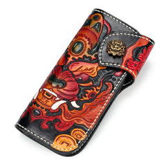 Handmade Leather Monster Mens Tooled Chain Biker Wallet Cool Leather Wallet Long Phone Wallets for Men