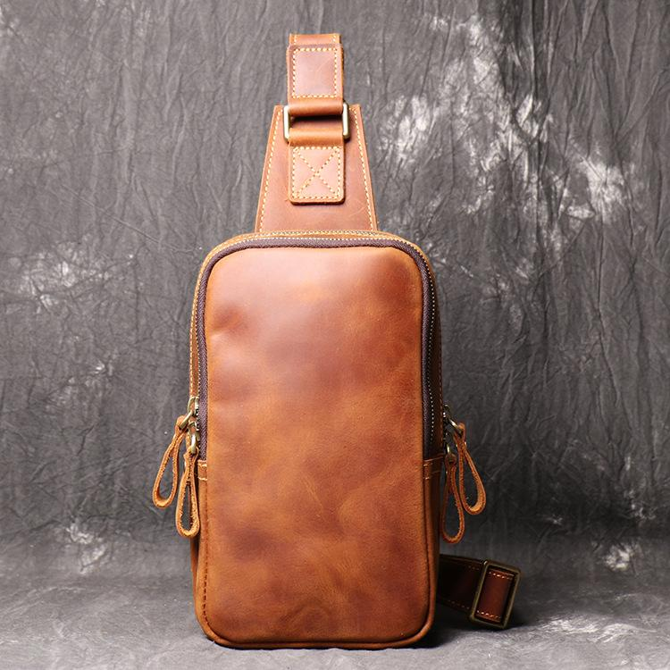 Best Brown Leather Men's Sling Bag Chest Bag Brown One shoulder Backpack Sling Pack For Men