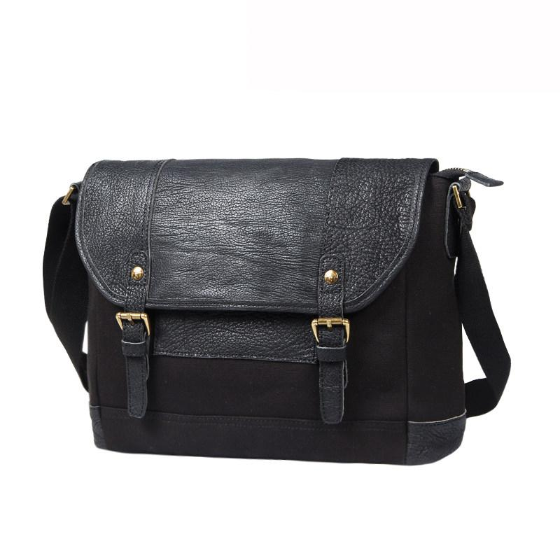Black Canvas Leather Mens Side Bags Messenger Bags Dark Coffee Canvas Courier Bag for Men