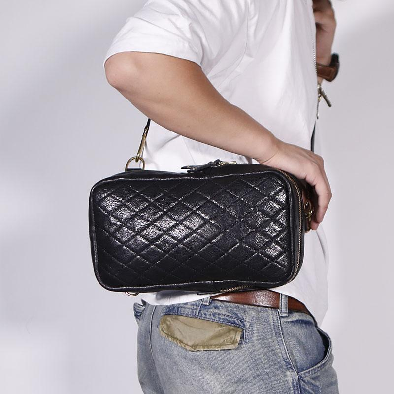 FASHION BLACK LEATHER MEN'S 10 INCHES SLING BAG ONE SHOULDER MESSENGER BAG CHEST BAG DIAGONAL BAG FOR MEN