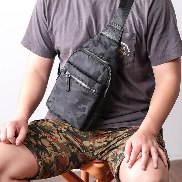 Cool Nylon Men's Sling Bag Camouflage Chest Bag Nylon One shoulder Backpack Sling Pack For Men