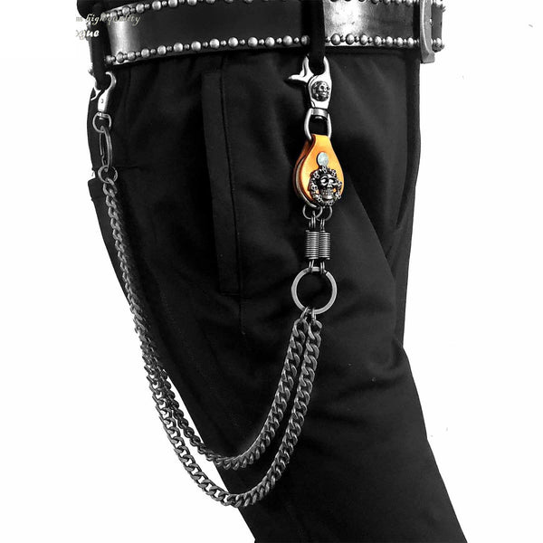 Badass Skull Mens Double Biker Wallet Chain Wallet Chain Pants Chain for Men