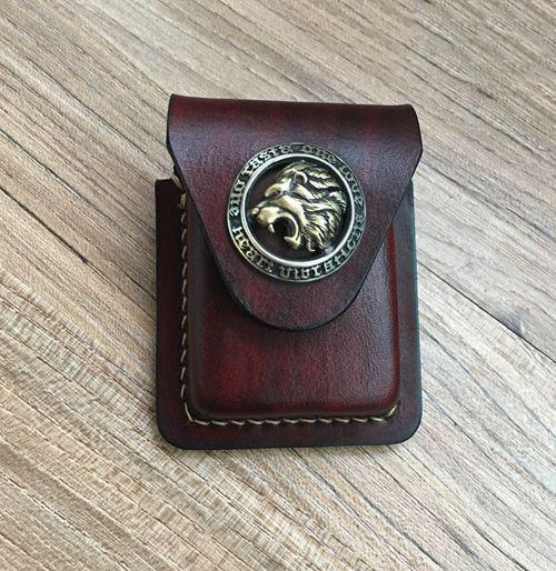 Brown Thick Leather Copper Lighter Cover Protective Lighter Cover For Men