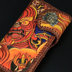Handmade Mens Tooled God Mahakala Long Leather Chain Wallet Biker Trucker Wallet with Chain
