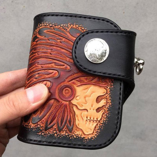 Handmade Leather Tooled Skull Indian Chief Biker Wallet Mens Cool billfold Chain Wallet Trucker Wallet with Chain