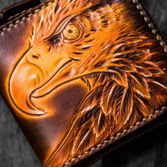 Handmade Leather Tooled Eagle Mens Short Wallet Cool Leather Wallet Slim Wallet for Men