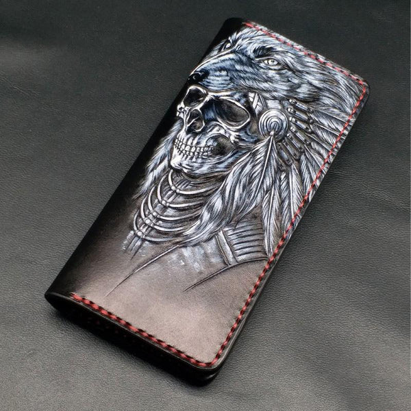 Black Handmade Tooled Indian Chief Skull Leather Mens Long Wallet Bifold Long Wallet For Men