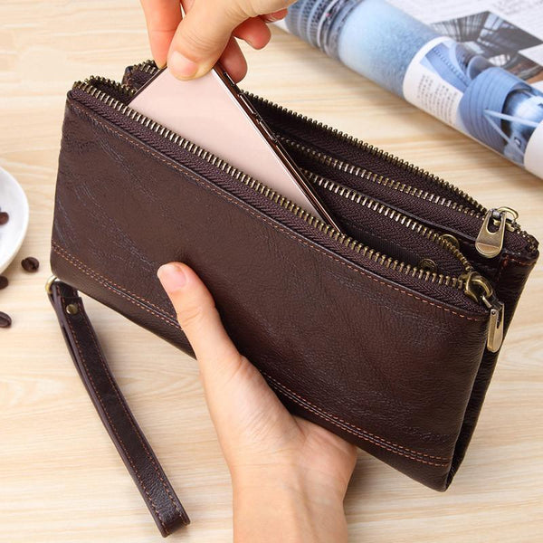 Fashion Black Leather Men's Bifold Long Wallet Brown Wristlet Wallet Clutch Wallet For Men