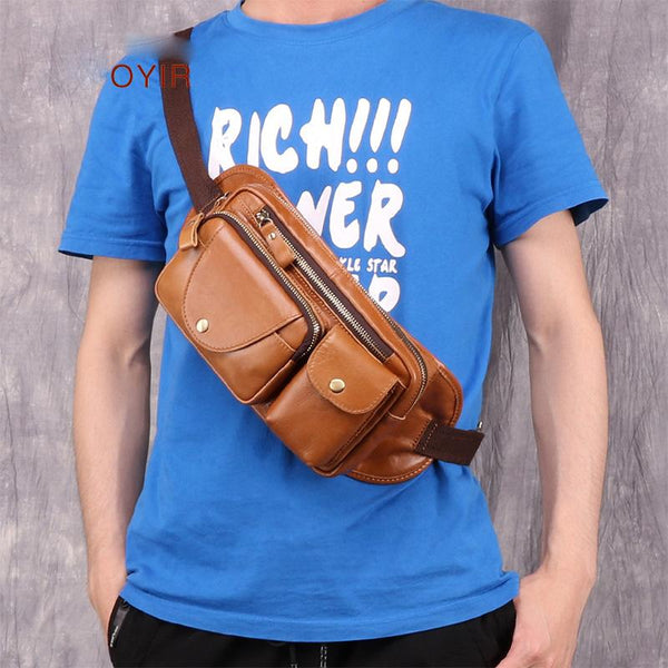Vintage Brown Leather Men's Fanny Pack Hip Pack Chest Bag Sling Crossbody Bag For Men