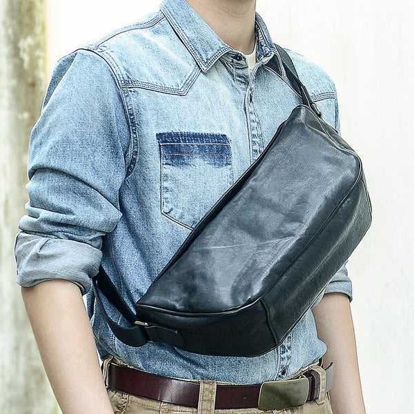 Cool Black Leather Men Chest Bag Large Sling Bag One Shoulder Backpack Sling Packs For Men