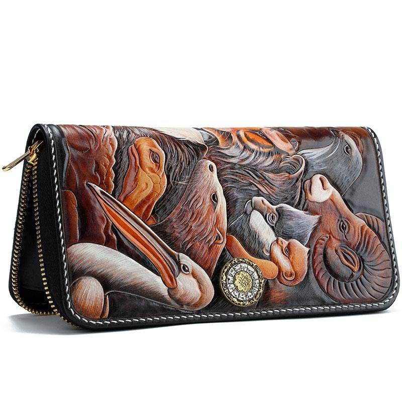 Handmade Leather Tooled The Animals Mens Chain Zipper Biker Wallet Cool Leather Wallet Long Phone Wallets for Men