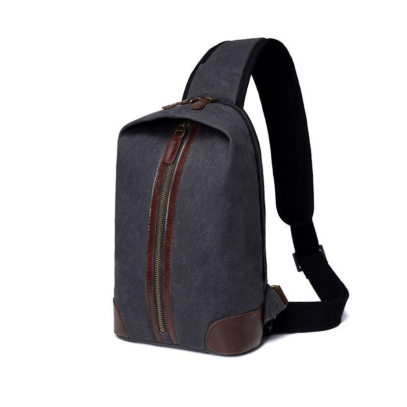 Black Canvas Sling Backpack Men's Sling Bag Chest Bag Canvas One shoulder Backpack For Men