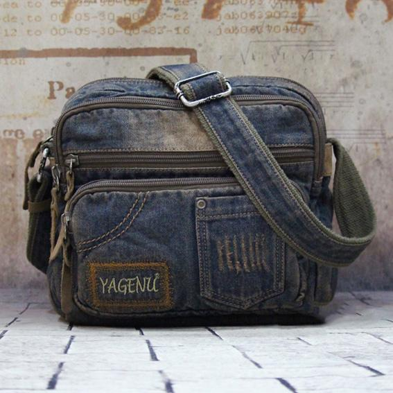 Blue Denim Mens Fashion Small inches Messenger Bag Jean Blue Small Postman Bag Courier Bag For Men