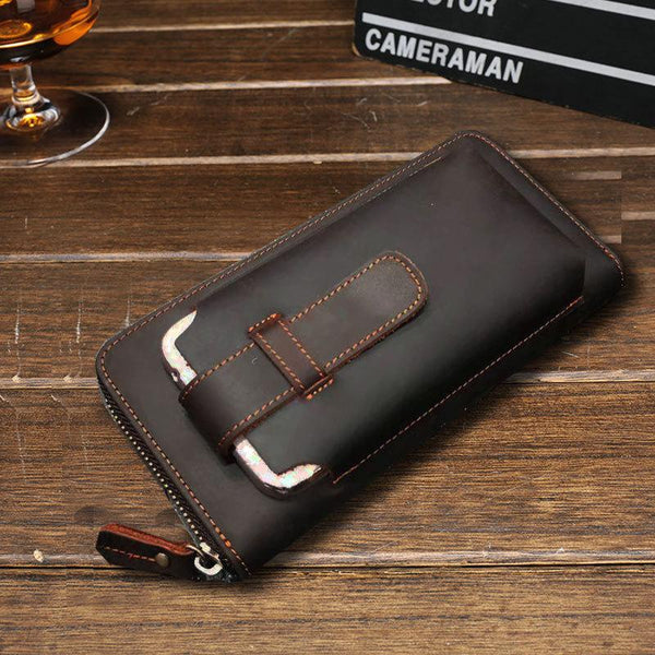 Vintage Cool Mens Leather Long Wallet Clutch Wallet Phone Wallet for Men
