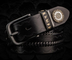Handmade Genuine Leather Mens Belt Cool Leather Men Black Belts for Men
