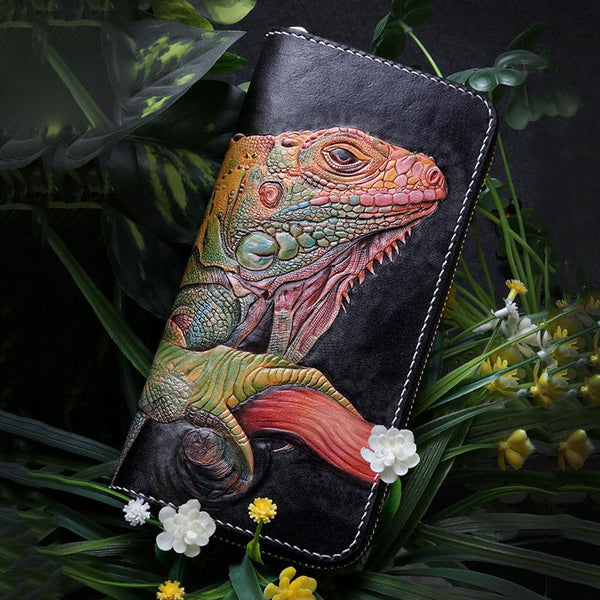 Handmade Leather Chameleon Mens Tooled Chain Zipper Biker Wallet Cool Leather Wallet Long Phone Wallets for Men