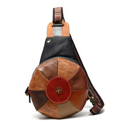 Stitched Brown Leather Men's Sling Bag Circle Shoulder Bag Chest Bag One Shoulder Backpack For Men