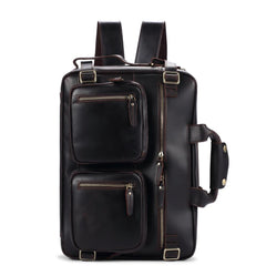 Black Coffee Leather Men's 15 inches Large Briefcase Computer Backpack Black Large Travel Backpack Black Large College Backpack For Men