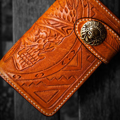 Handmade Leather Skull Indian Chief Tooled Mens billfold Wallet Cool Small Chain Wallet Biker Wallet for Men