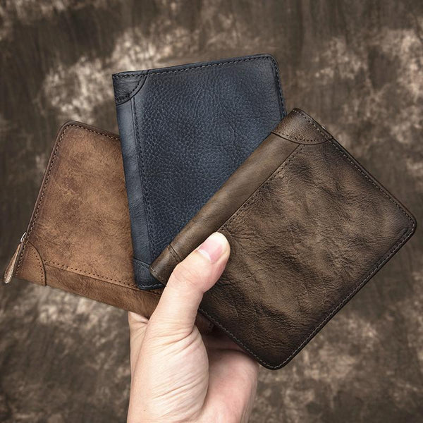 Cool Leather Brown Men's Zipper billfold Small Wallet Bifold Wallet Card Wallet For Men