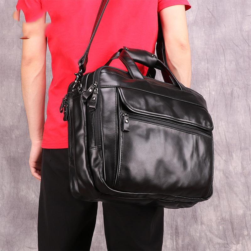 Black Leather Mens 15 inches Large Laptop Work Bag Handbag Briefcase Shoulder Bags Business Bags For Men