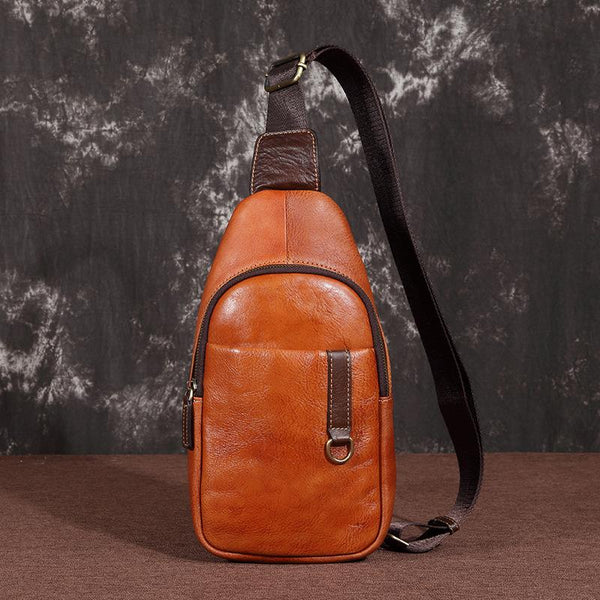 Brown Cool LEATHER MENS 8 inches Sling Bag One Shoulder Backpack Dark Brown Chest Bag For Men