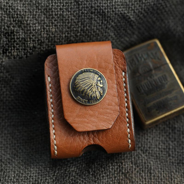 Cool Light Brown Handmade Leather Mens Zippo Lighter Case With Belt Loop Lighter Holders For Men