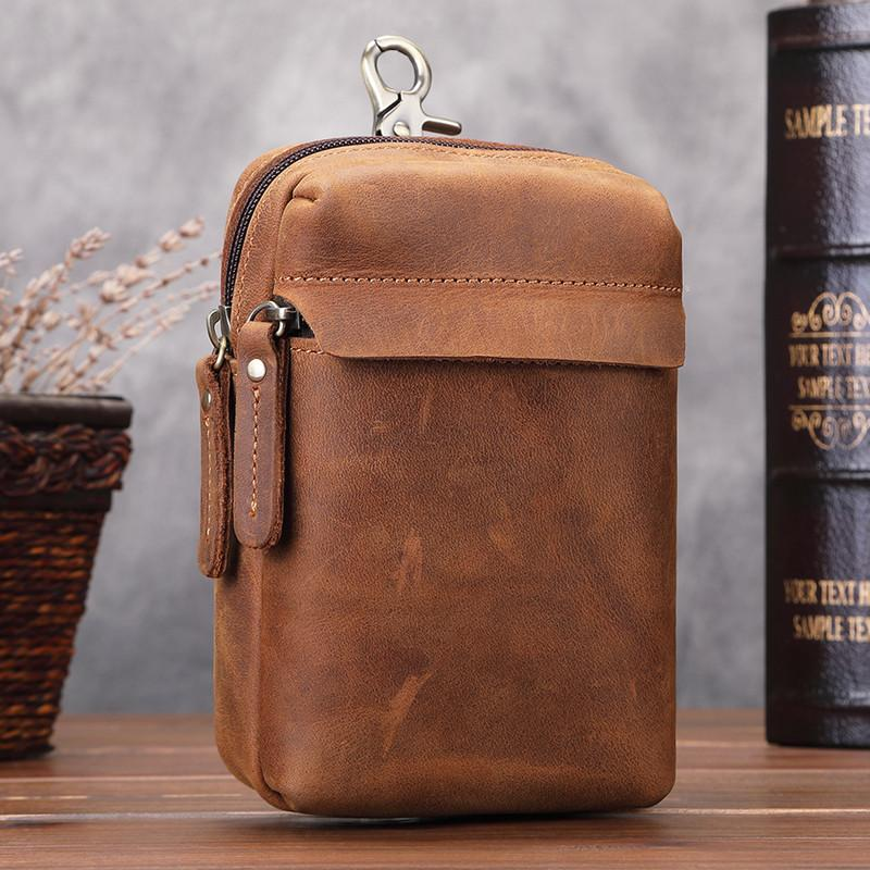 Cool Brown Leather Men's Cell Phone Holster Brown Belt Bag Belt Pouch For Men