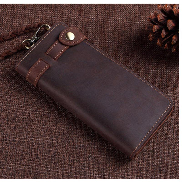 Cool Leather Long Biker Wallet for Men Bifold Biker Chain Wallet Long Chain Wallet For Men