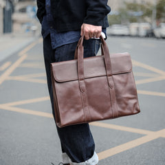 Vintage Black Mens Leather Briefcases Work Handbag Brown 14'' Computer Briefcases For Men