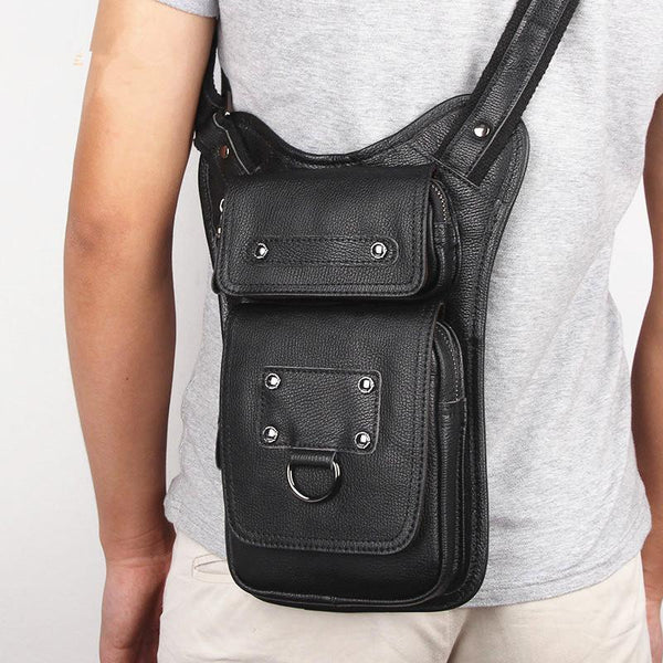 Black Leather Men's Sling Bag Shoulder Bag Chest Bag One Shoulder Backpack For Men