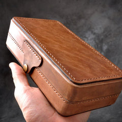 Handmade Leather Mens Box Wallet Wristlet Clutch Wallet Cigarette Box for Men