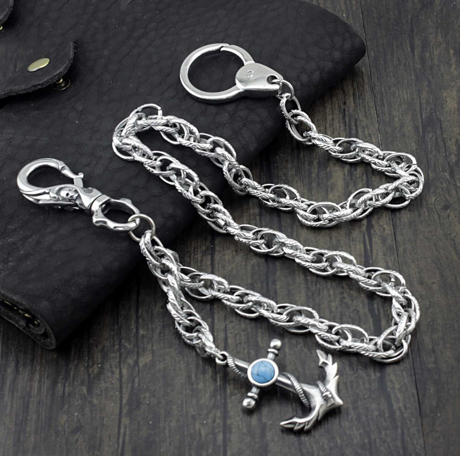 Badass anchor Stainless Steel Mens Rock Punk Motorcycle Pants Chain Wallet Chain Long Key Chain For Men