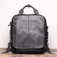 BLACK Vertical LEATHER MEN'S Messenger Bag Side Bag BACKPACK Work Handbag Briefcase FOR MEN