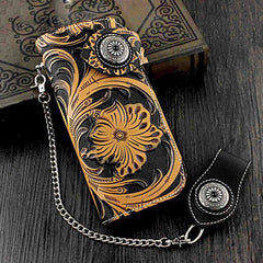 Badass Black Leather Men's Long Biker Chain Wallet Tooled Long Wallet with Chain For Men