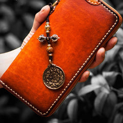 Handmade Leather Mens Chain Biker Wallet Cool Leather Long Wallet Clutch Wallets for Men