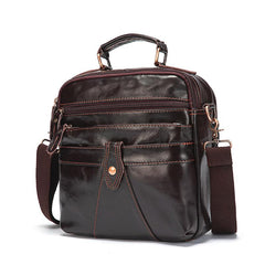 Coffee LEATHER MEN'S Small Vertical Side Bag Messenger Bag Coffee Briefcase Handbag FOR MEN