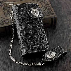 Badass Black Leather Men's Long Biker Chain Wallet Long Wallet Chain For Men
