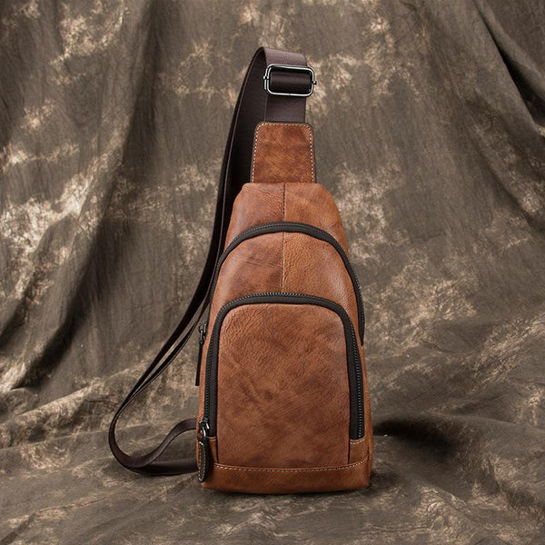 Brown Cool LEATHER MENS Sling Bag One Shoulder Backpack Blue Chest Bag Sports Bag For Men
