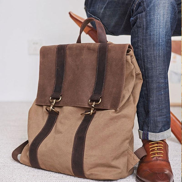 Canvas Mens Cool Backpack Canvas Travel Bag Canvas School Bag for Men