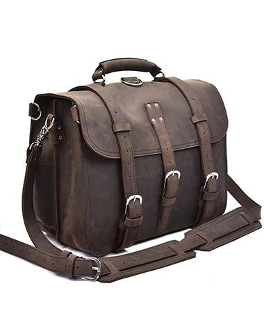 Leather Men Large Briefcase Handbag Travel Bag Messenger Bag For Men