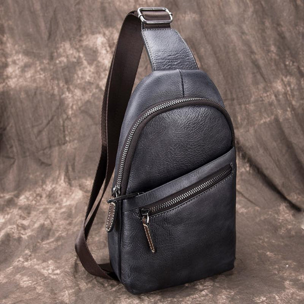 Gray Leather Men's Sling Bag 8 inches Brown Chest Bag One Shoulder Backpack For Men