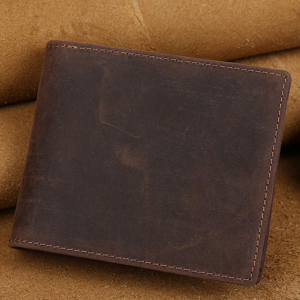 Vintage Bifold Leather Mens Wallet Small Wallet Front Pocket Wallets for Men