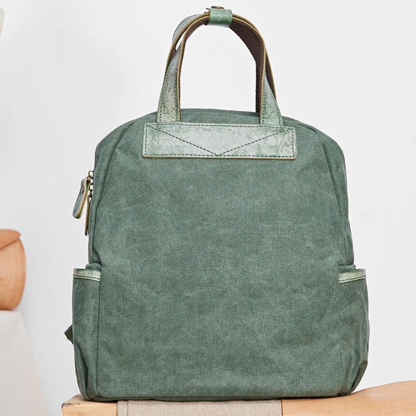 Canvas Green Mens Cool Backpack Canvas Travel Bag Canvas Handbag for Men