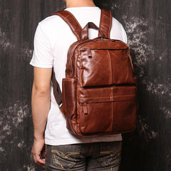 Brown Leather Men's 15 inches Computer Backpack Travel Backpack Brown Laptop College Backpack For Men