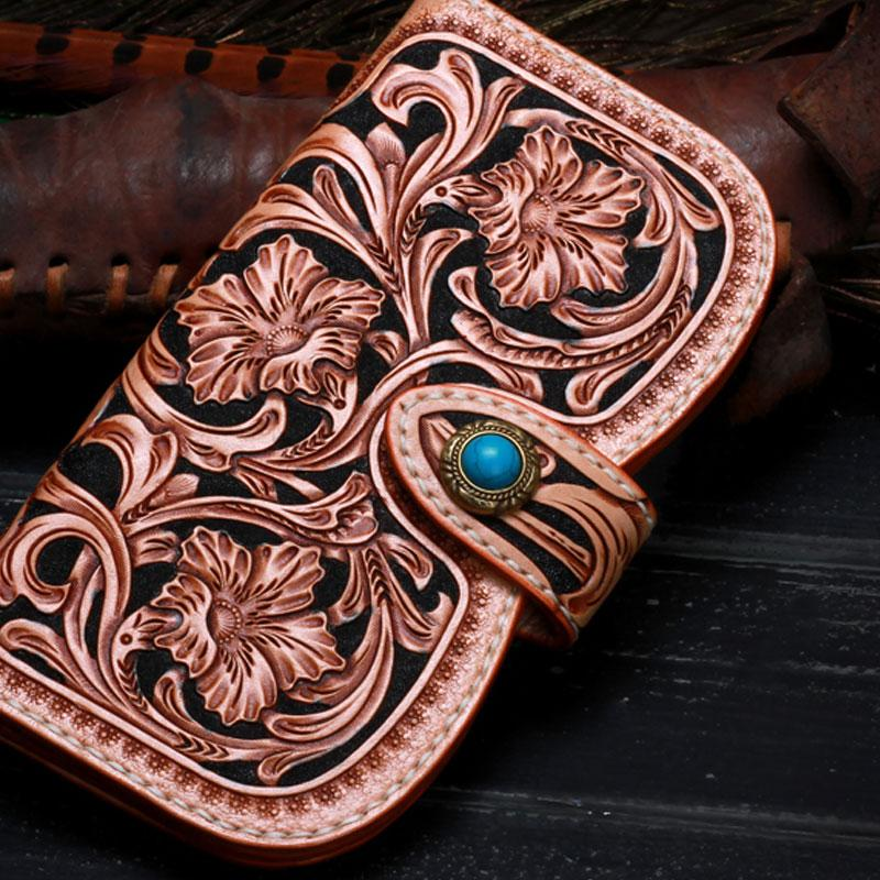 Handmade Leather Tooled Floral Mens Clutch Wallet Cool Wallet Long Wallets for Men Women