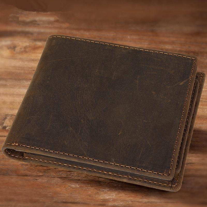 Bifold Leather Mens Wallet Small Wallet Short Wallet Driver's License Wallet for Men