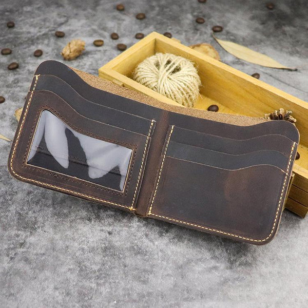 Cool Leather Brown Men's Small Wallet billfold Bifold Wallet Front Pocket Wallet For Men