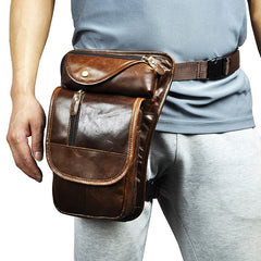 Cool Leather Drop Leg Bag Belt Pouches Mens Waist Bag Shoulder Bag for Men