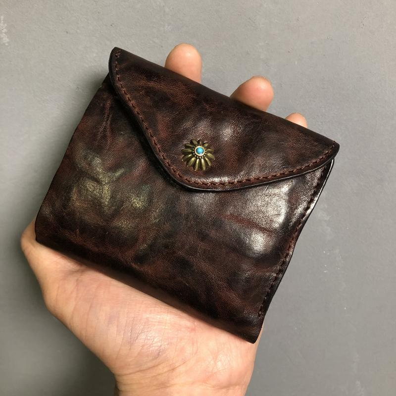 Vintage Genuine Leather Mens billfold Coffee Leather Wallet Men Small Wallets Front Pocket Wallet for Men